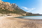 Shallow lagoon and Balos beach in the afternoon, Northwest Crete, Greece
