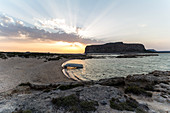 Sunset over Balos lagoon in the afternoon, Northwest Crete, Greece