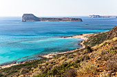 View over coast and sea at Balos lagoon, northwest Crete, Greece
