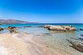 Elafonissi beach with pink sand, southwest Crete, Greece