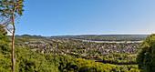 View over the right bank of the Rhine (Oberkassel) to the Siebengebirge, North Rhine-Westphalia, Germany