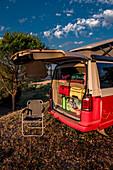 Packed camper, Buonconvento, Tuscany, Italy