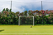 Sports field with soccer goal, Italy