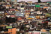 The hilly city is known for its densely packed houses in every shape and color, Valparaiso, Valparaiso, Chile, South America