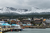 View of the busy city that is the starting point for most Antarctic cruises, Ushuaia, Tierra del Fuego, Patagonia, Argentina, South America