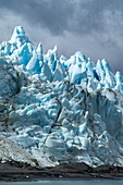 "Detail of the rugged glacier, which rests on land, with pointed ""towers"", Pio XI glacier, Magallanes y de la Antartica Chilena, Patagonia, Chile, South America"