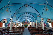 Colorful interior of a church with its graceful blue arches, Fakarava Atoll, Tuamotu Islands, French Polynesia, South Pacific