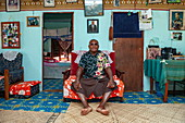 The local chief welcomes visitors to his humble home, Mamanuca Islands, Fiji, South Pacific