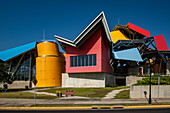 Colorful, quirky facade of Frank Gehry's Natural History Museum Biomuseo, Panama City, Panama, Central America