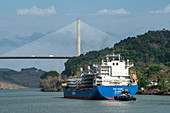 A cargo ship that has left Pedro Miguel's locks in the Panama Canal approaches the Centennial Bridge on the west side of Lake Gatun, near Panama City, Panama, Central America