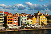 View of the city center in the late afternoon, seen from the opposite side, Willemstad, Curacao, Netherlands Antilles, Caribbean