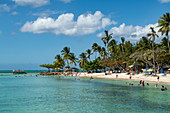 An idyllic coral beach with palm trees is littered with visitors, Pigeon Point, Tobago, Trinidad and Tobago, Caribbean