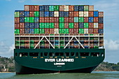 Rear view of the Neo Panamax container ship Ever Learned in Lake Gatun of the Panama Canal, near Colon, Panama, Central America