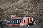 A run-down power generation site is a familiar sight for visitors to the former coal mining town of Pyramiden, Billefjord, Spitsbergen, Norway, Europe