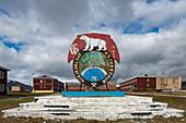 A polar bear adorns the symbol for this former coal mining town, Pyramiden, Billefjord, Spitsbergen, Norway, Europe