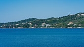 View of the forested island of Skiathos, Greece