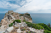 Rocky road to Kastro, the old capital of the island, Skiathos, Greece