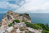 Steiniger Weg nach Kastro, der alten Hauptstadt der Insel, Skiathos, Griechenland