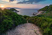 Sunset at Krifi Ammon Beach on Skiathos Island, Greece