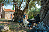 Small moped parked on a tree in Skiathos, Greece