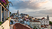 View shortly after sunrise from Miradouro Santa Luzia to Alfama, one of the oldest districts in Lisbon, Portugal