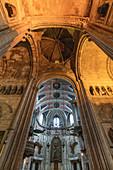 Looking up at Se de Lisboa cathedral in Lisbon, Portugal