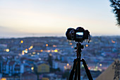 Camera over the rooftops of Lisbon, Portugal