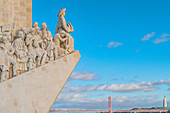 The Monument to the Discoveries overlooking Ponte 25 de Abril in Lisbon, Portugal