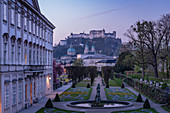 Early morning view of the Mirabell Gardens and Hohensalzburg Castle, Salzburg, Austria