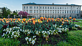 View of the gardens and Mirabell Palace in Salzburg, Austria