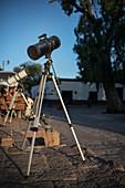 Stars telescope in front of building in the center of San Pedro de Atacama, Atacama Desert, Antofagasta Region, Chile, South America