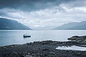 single small boat in the fjord Estero Reloncavi, Region de los Lagos, Chile, South America
