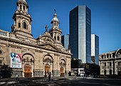 View of the cathedral and office towers, Plaza de Armas, capital city Santiago de Chile, Chile, South America