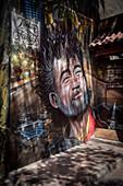 street-art mural (large mural) in the Barrio Bellavista, capital Santiago de Chile, Chile, South America