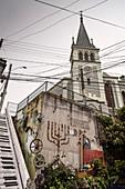 Street art at Valparaiso Lutheran Church, Chile, South America