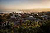 Panoramic view during sunrise of the port city of Valparaiso, Chile, South America