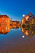Villa Concordia in Bamberg at the blue hour, Upper Franconia, Franconia, Bavaria, Germany, Europe