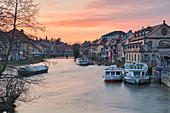 Ship landing stage in Bamberg in the evening, Upper Franconia, Franconia, Bavaria, Germany, Europe