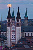 Full moon over Würzburg, cathedral, old town, Lower Franconia, Franconia, Bavaria, Germany, Europe