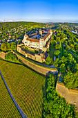 Aerial view of Marienberg Fortress in Wuerzburg, sunrise, Lower Franconia, Franconia, Bavaria, Germany, Europe