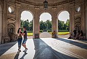 Dancing couple in the pavilion from the Hofgarten in Munich, Muenchen; Bavaria; Germany; Europe