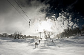 Ski lift in the Thredbo ski area, NSW, Australia