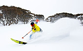 Powder snow skiing in the Mt. Hotham ski area, Victoria, Australia