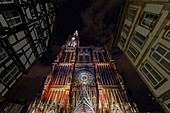 France, Bas Rhin, Strasbourg, old town listed as World Heritage by UNESCO, Notre Dame Cathedral, the western facade, summer 2015 light and sound show