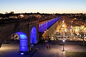 France, Herault, Montpellier, Saint Clement Aqueduct, lighting by the artist Yann Kersale
