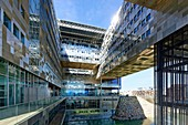 France, Herault, Montpellier, district of Port Marianne, City hall of the architects Jean Nouvel and Francois Fontes