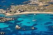 France, Corse du Sud, Bonifacio, Lavezzi Islands Nature Reserve and the Acciarino cemetery hosting the graves of the Semillante shipwrecked men (aerial view)