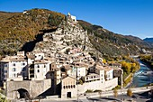 France, Alpes de Haute Provence, Entrevaux classified village and city of character, strengthened by Vauban, the city, the cathedral, and access path to the strengthened citadel
