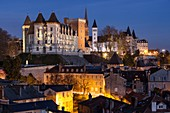France, Pyrenees Atlantiques, Bearn, Pau, 14th century castle, place of birth of king Henry IV at nightfall