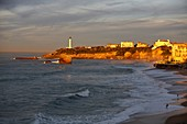 France, Pyrenees Atlantiques, Basque Country, Biarritz, view of the Big Beach and St. Martin peak at sunset